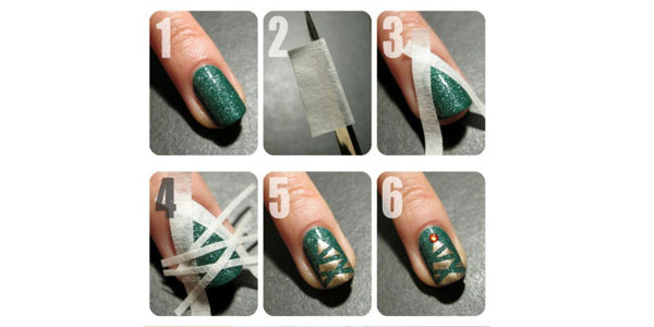 Easy-Simple-Christmas-Tree-Nail-Art-Tutorial-2012-For-Girls