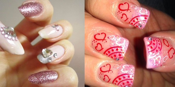 Nail designs for valentine day girlshue 10 best simple easy valentines day nail art designs 2013 for girls prinsesfo Gallery