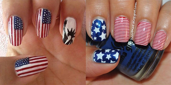 15 Easy & Cool Fourth Of July American Flag Nail Designs | 4th of July 2013  | Girlshue - 15 Easy & Cool Fourth Of July American Flag Nail Designs 4th Of