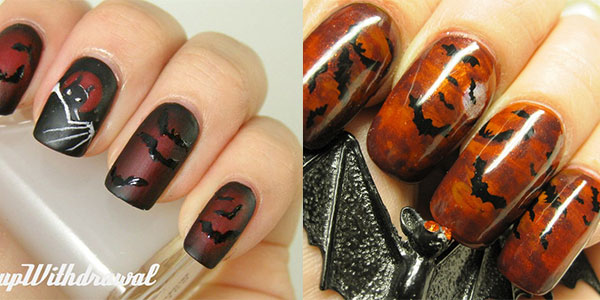 bat nail patterns halloween nails