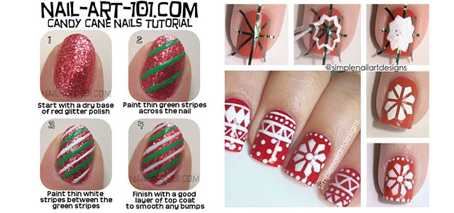 Easy Christmas Nail Art Tutorials 2013/ 2014 | X mas Nails | Girlshue