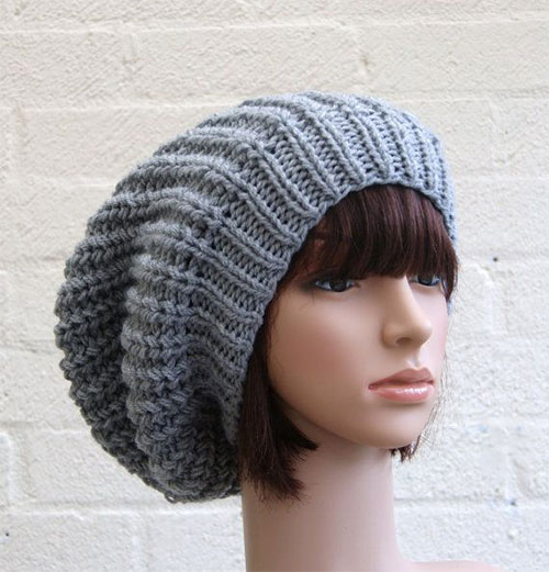 Extra large Knitted Slouchy Silver Grey Beanie Hat