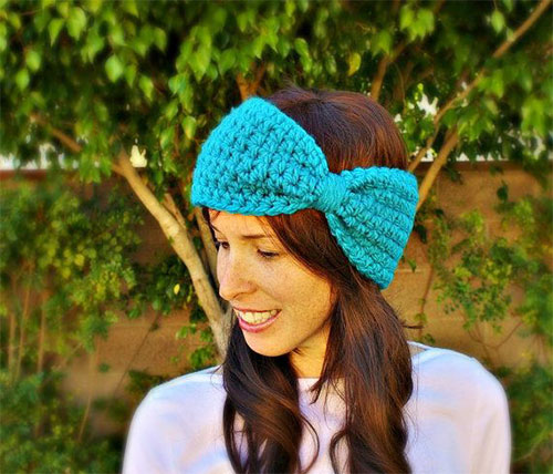 Winter Headbands With Bow Crochet Knitting Patterns For Women