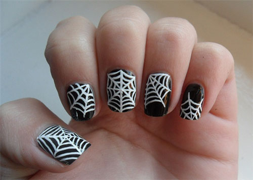 10 Scary Halloween Spider Web Nail Art Designs Ideas Stickers