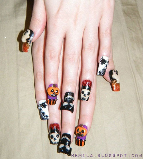 15 Amazing Yet Scary 3d Halloween Nail Art Designs Ideas Trends