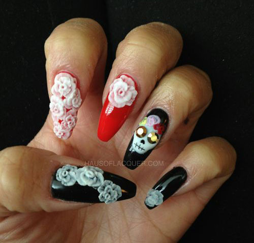 Girl nail 15 amazing yet scary 3d halloween nail art 15 amazing yet scary 3d halloween nail art designs prinsesfo Images