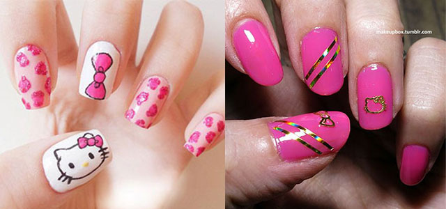 15 Cute Hello Kitty Inspired Nail Art Designs Ideas Stickers 2014