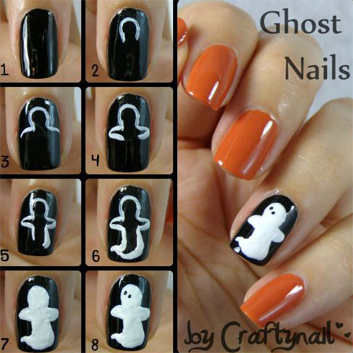 20 easy step by step scary halloween nail - Halloween Easy Nail Art