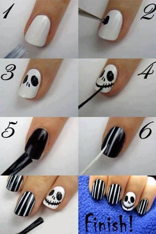 20 Easy Step By Step Scary Halloween Nail Art Tutorials ...