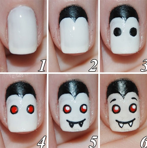 20 Easy Step By Step Scary Halloween Nail Art Tutorials For ...