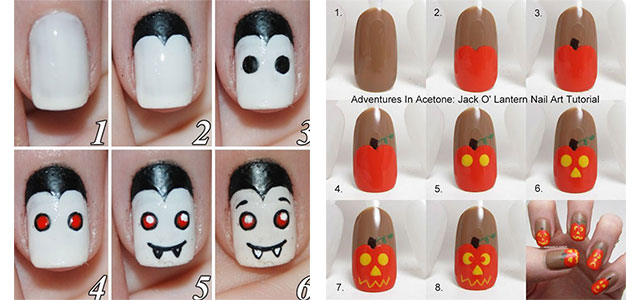 20 easy step by step scary halloween nail art tutorials for 20 easy step by step scary halloween nail art tutorials for beginners 2014 girlshue prinsesfo Images