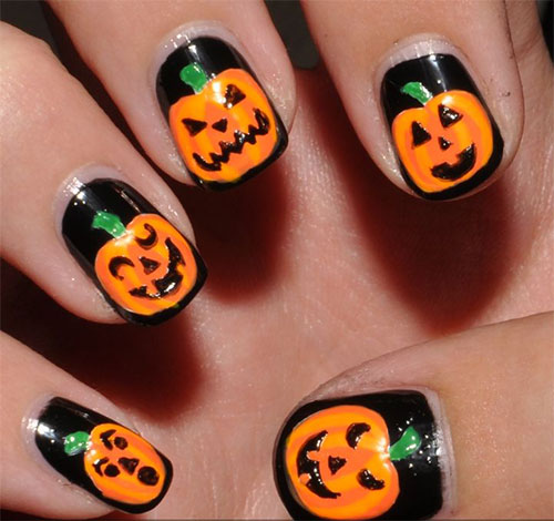20-Inspiring-Scary-Halloween-Pumpkin-Nail-Art-Designs- - 20 + Inspiring & Scary Halloween Pumpkin Nail Art Designs, Ideas