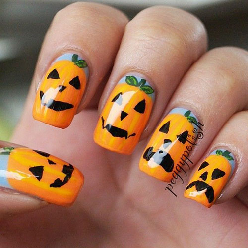 20 + Inspiring & Scary Halloween Pumpkin Nail Art Designs ...