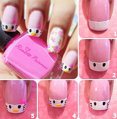 Easy-Hello-Kitty-Nail-Art-Tutorials-2014-For-Beginners-Learners-2