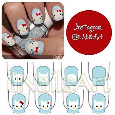 Easy Hello Kitty Nail Art Tutorials 2014 For Beginners Learners