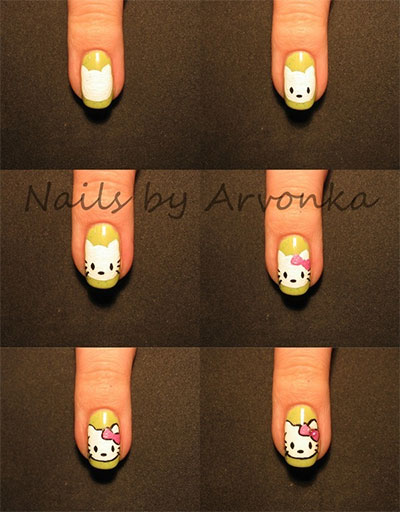 Easy-Hello-Kitty-Nail-Art-Tutorials-2014-For-Beginners-Learners-4