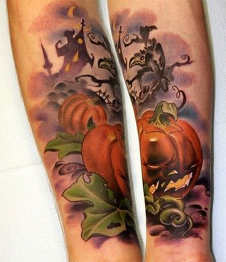 15-Cool-Pumpkin-Halloween-Inspired-Temporary-Tattoo-Designs-Ideas-2014-3