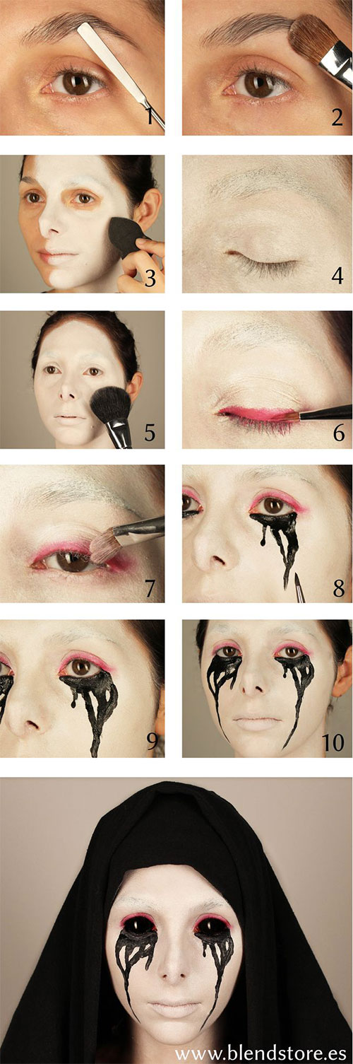 15 easy step by step halloween make up - Halloween Makeup For Beginners