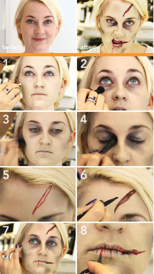 15 Easy Step By Step Halloween Make Up Tutorials For Beginners ...