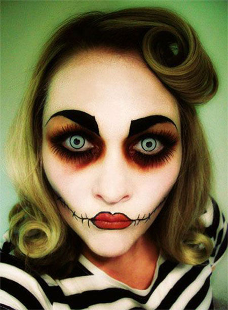 Scary Doll Halloween Dress up Doll Halloween Make up