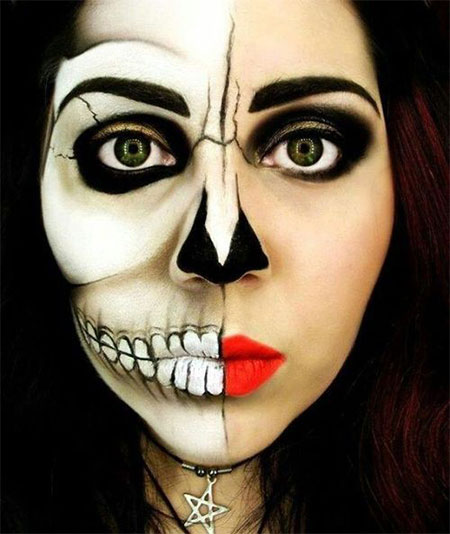 18 Best Halloween Half Face Teeth &amp Mouth Make Up Looks - Make Up De Halloween