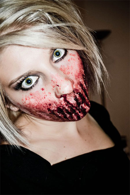 18 best halloween half face teeth mouth make - Scary Faces For Halloween With Makeup