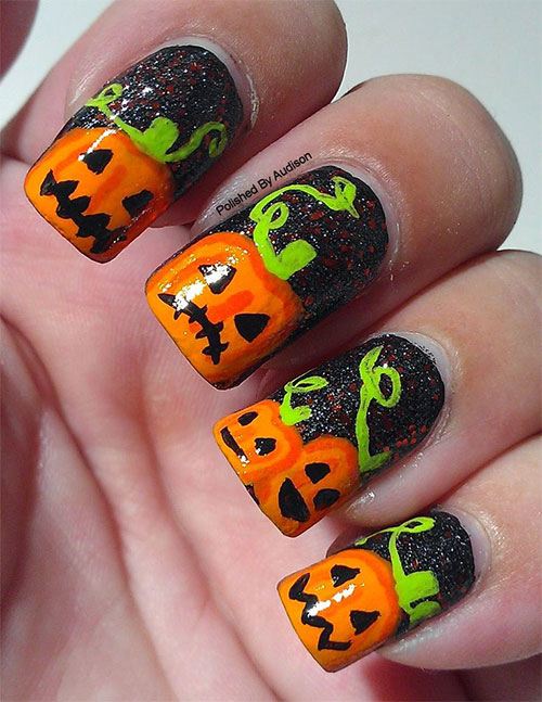 20 Best Pumpkin Nail Art Designs Ideas Stickers