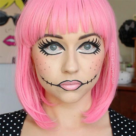 15 halloween doll face makeup ideas trends styles 2015. Black Bedroom Furniture Sets. Home Design Ideas