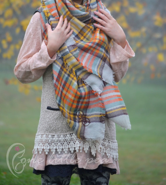 Blanket Scarf, gift for her, christmas gifts, blanket scarf plaid, winter accessories, stocking stuffer, winter scarf, personalized, sc01
