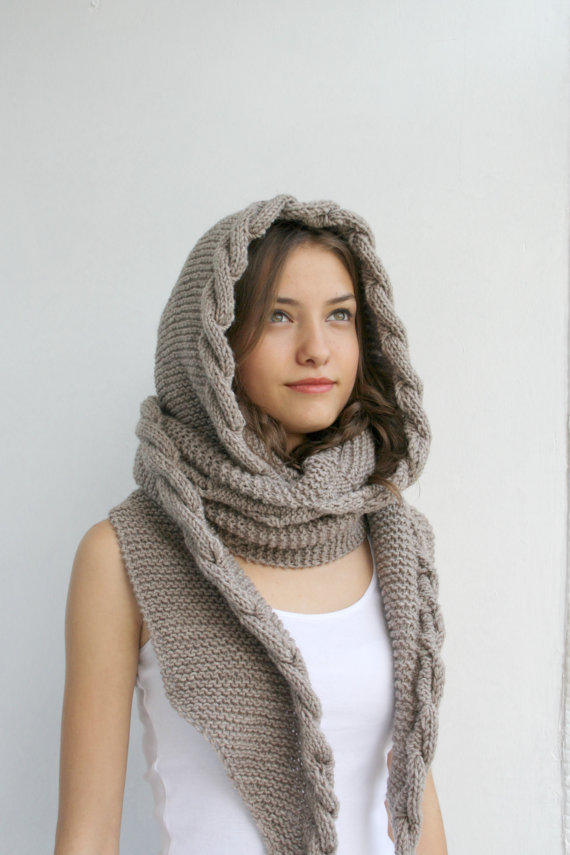 Milky Brown Wool Hooded Cabled Long Scarf Cowl Valentine Day gift Under USD100