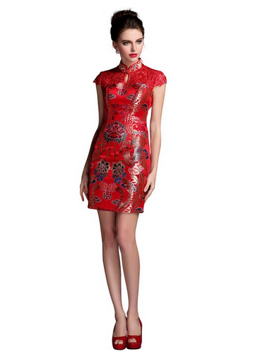 ONLYOU Women's Lace Cap Sleeves Phoenix Short Cheongsam Sexy Chinese Evening Gowns Red