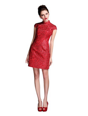 ONLYOU Women's Vivid Embroidery Holiday Dressqipao Cheongsam Party Dress New Year Chinese Dress Mini Red