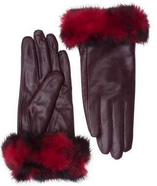 Womens Lambskin Leather Winter Warm Gloves with Genuine Rabbit Fur Cuff