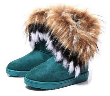 snow Ankle boots faux fox rabbit