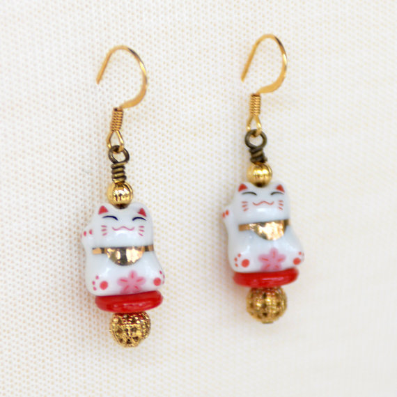 Lucky Maneki Neko Earrings