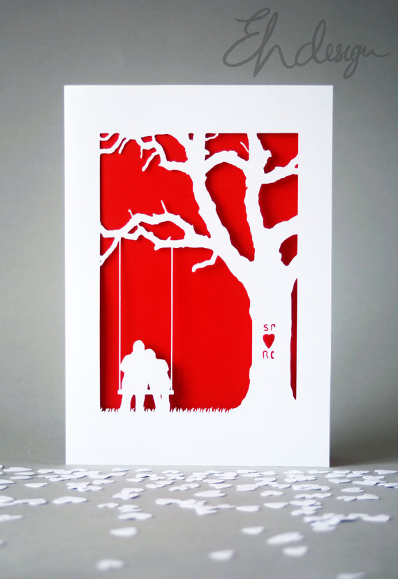 Papercut Valentines Day Card