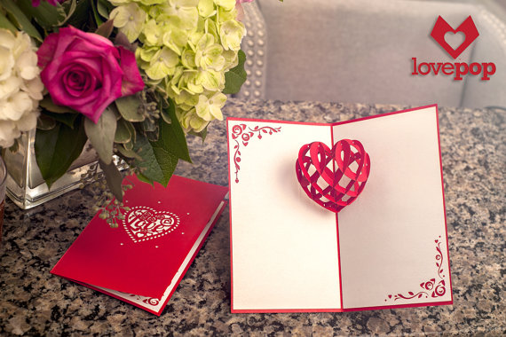 Pop-up card of a red heart