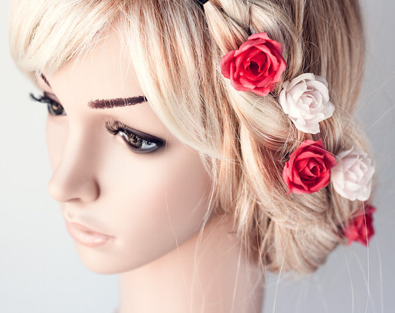 Lovely Bridal Rose Hairpins 2016 4