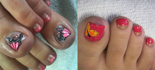 Butterfly Toenails Ideas and Designs
