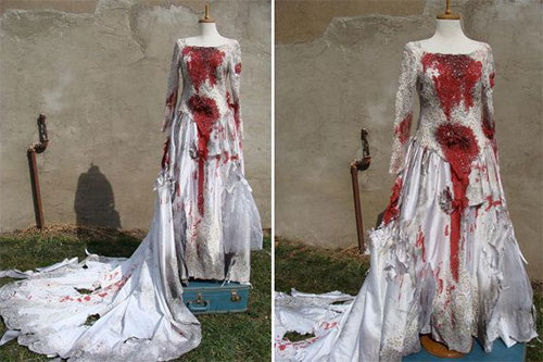 Bloody Zombie Corpse Bride Wedding Dress Gown Halloween Costume