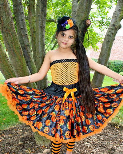 girls halloween orange black pumpkin pettiskirt set