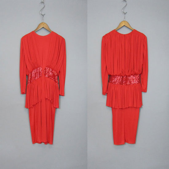 1980s Dress Vintage Disco Red For Christmas