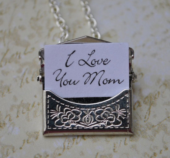 Mom Envelope Necklace Secret Message Silver I Love You Perfect Gift
