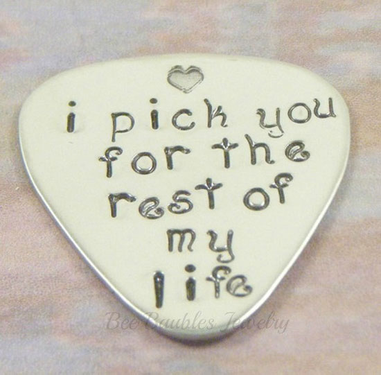 hand stamped jewelry guitar pick personalized for him - Valentine Day Gift Ideas For Husband