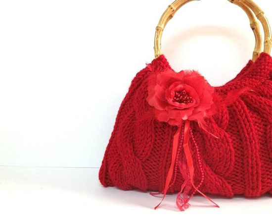 ce5cc6d1ec Red Valentines Purse Handbag With Real Bamboo Bag Handles & Red Rose Flower  Valentines Day Gift