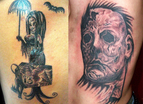 15 best unique scary halloween tattoo designs images galleries 2012 for girls women. Black Bedroom Furniture Sets. Home Design Ideas