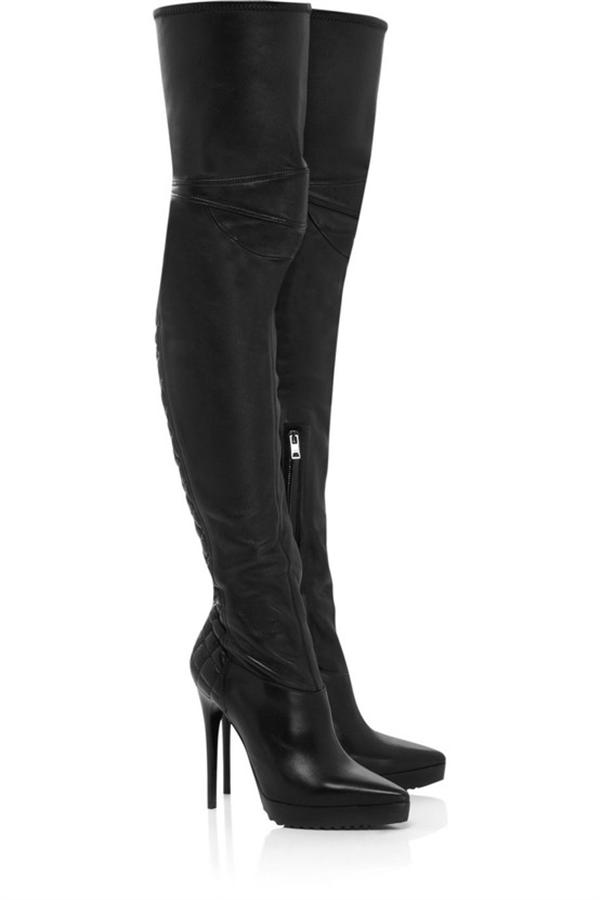 leather stiletto boots thigh high heels for