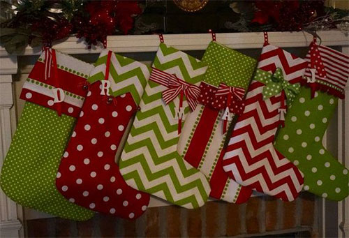 Christmas Stockings Personalized In Bright Red & Green Cotton