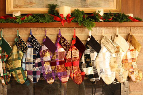 woven ribbon christmas stocking pattern