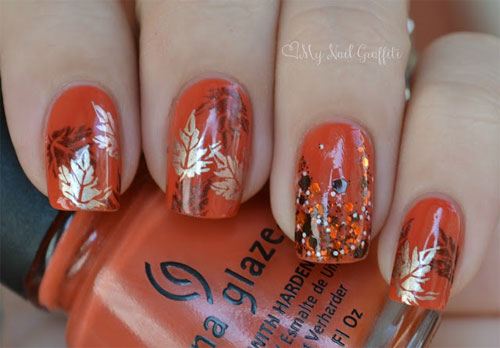 latest autumn nail art designs trends fashion for girls 2013